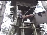 woman Pissing From A Tree House
