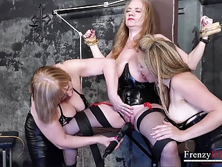 Threesome Lesbian Mature video: FrenzyBDSM Rough Mature Threesome Bondage
