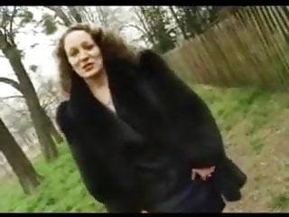 Mature Girl Masturbating video: Mature in black fur coat