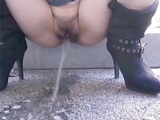 Brunette Milf Mature video: Street piss