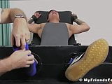 Inked jock Trevor bondage and severe feet tickling