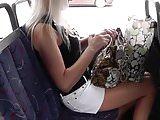 Upskirt Blonde Black Thong on Bus