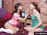 Hairy beauties enjoy lesbian oral sex