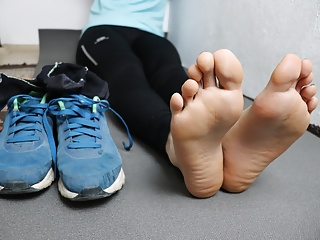Femdom Pov Foot Fetish video: My Sweaty and Dirty Feet After Running 5K POV