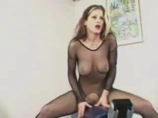 Catsuit Stockings Woman Rides Fuck Machine To Orgasm St69 Orgasm
