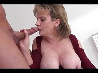 Mature rides toy and gets face full of cum
