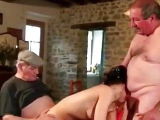 Oldyoung Dad Two Men video: Two old mature men playing with a young girl