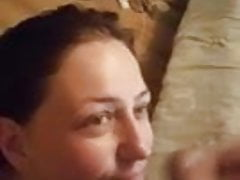 Cumming on my girlfriend's face and in her mouth 3