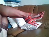 mature legs in FF nylons and red sandals