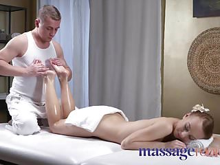 Russian Massage video: Massage Rooms Petite tight young Russian worships the cock