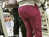TJ Maxx Creep Shots bubble butt blonde in red leggings