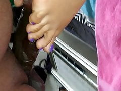 Cotton Purple Toes Reverse Footjob Part 2