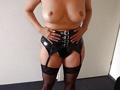 Alysha Stripping In Latex Outfit, Stockings &Amp; High Heels