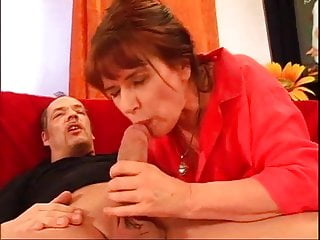 .Double penetration for the Italian grandmother.