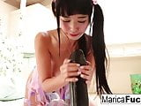 Asian legend Marica Hase plays with an enormous sex toy