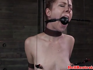 Closeups Sex Toys video: Restrained gagged sub toyed by maledom