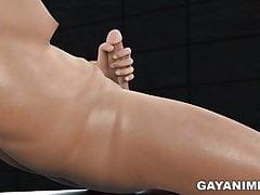 Chubby 3D guy gets blown by a mini stud