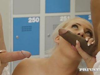 Blonde Blowjob Brunette video: Private.com - Ana Rose & Cayla Lions Do Locker Room Orgy!