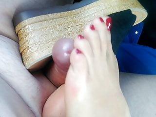 Foot Fetish Footjob High Heels video: Wedges shoejob