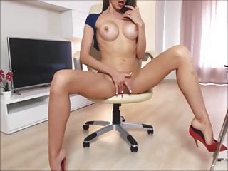 Amateur Big Tits Webcam video: Goddess With Big Jugs Dildoing Her Tight Anus On Cam