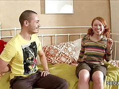 Casting Hardcore falso per Redhead tedesco magro teenager
