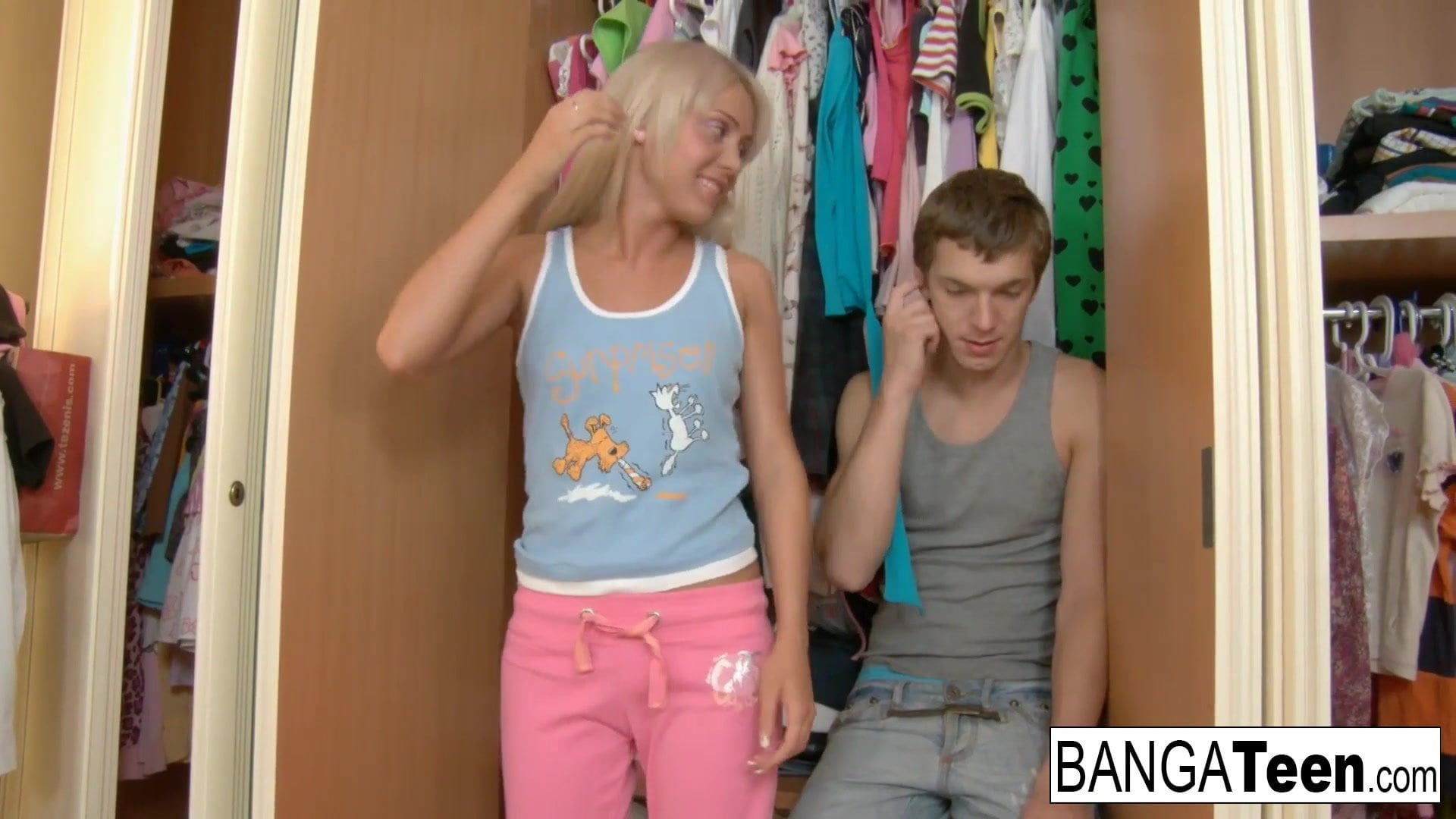 .Pretty blonde teen wants to get down and dirty.
