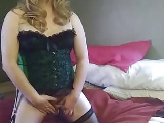 Stockings Shemale Amateur Shemale video: TS Cristy Cum Shot in Green Corset