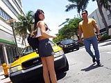 Candid voyeur gray short skirt hottie waiting on street