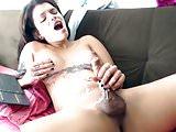 Monstercock smiling Latina tgirl cum Online
