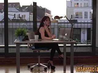 Interracial Hardcore Sex Toys video: Babe pov tugs black cock