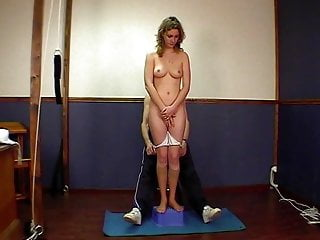 Spanking Whipping Teacher video: Blond curly girl gets punished and fucked by her teacher
