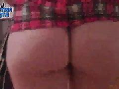Big round Ass in School Girl Skirt, Thong Inside 2nd Part