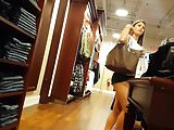 Candid voyeur french girl showing ass cheeks shopping