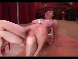 .REDHEAD SKINNY MATURE WITH BIG BOOBS FUCKED ON A POLE DANCE .