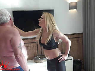 Femdom Blonde Slave video: Slave correction - faceslapping