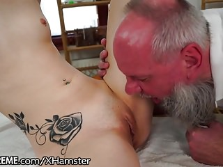 Oldyoung Massage Small Tits video: Grandpa Massages Tiny Teen with Mouth and Dick