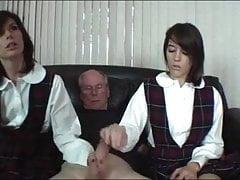 školačky Stroke Old Man Cock