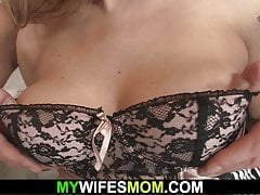 Wife Finds Her Chesty Mom Railing His Crazy Dick