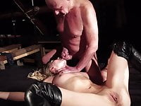 Crazy tinder date lures old man in her sex dungeon for fuck