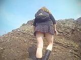 Girl hiking, no panties