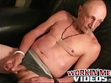 Old man tries anal play while jerking off his massive dick