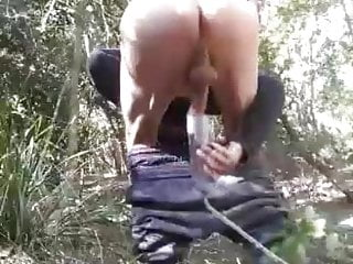 Walking stroking and pumping my horny cock outdoors today