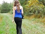 Outdoor farts in tight black pants