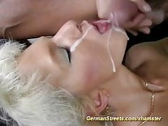 Blonde is fucked in car washing