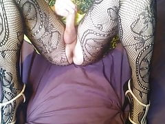 Green dress dildo fuck