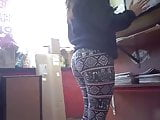 candid - teen employee BOOTY & THICK HIPS tight yoga pants