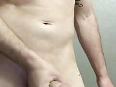 Jerking big shaved cock