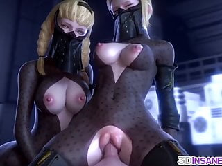 Cartoon Hd Videos video: Hot 3D babes threesome sex drilling