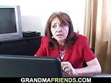 Old granny boss swallows two cocks on work place