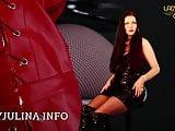 Shiny PVC Mistress gibt Wichsanleitung JOI Overknee Boots